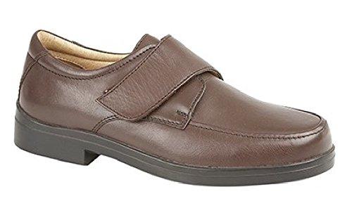 para Hombre Piel de Color Negro Extra Ancho Cierre de Touch Zapato Diario, Color marrón, Talla 42