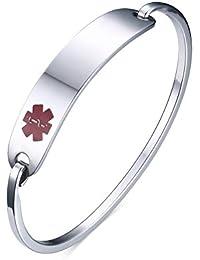 Vnox Hombres de acero inoxidable de las mujeres médicas de alerta Tag Tag brazalete pulsera de plata,60 mm de diámetro,grabado libre