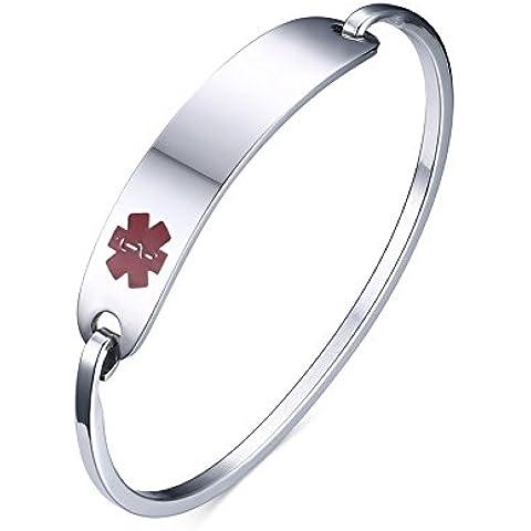 LianDuo Bracciale in acciaio inossidabile Diabete Medical Alert ID braccialetto degli uomini delle donne,libero (Fortunato Braccialetto Della Pietra Preziosa)