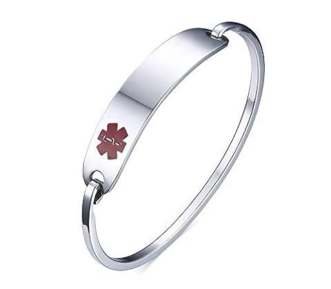 Vnox Men's Women's Stainless Steel Medical Alert ID Tag Bangle Bracelet Silver,60mm Diameter,Free Engraving