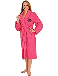UNISEX Personalised Bathrobe with YOUR CUSTOM TEXT Embroidery on TERRY TOWEL 100% COTTON Terry Towel Bathrobes, personalised terry bath robe, cotton personalised bathrobe