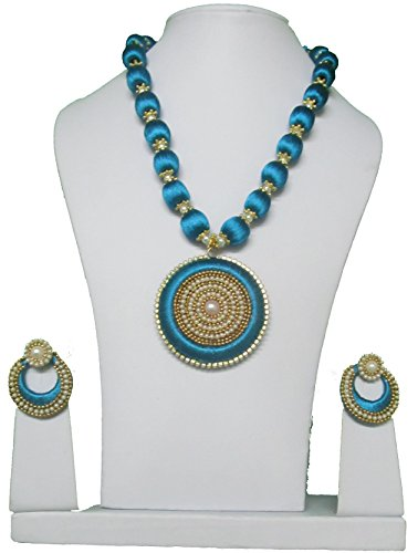 MDS Peacock Blue Silk Thread Necklace with DOUBLE SIDE Dollar and Earrings Jewellery set for Beautiful Women (MDS-1010) (Peacock Blue)
