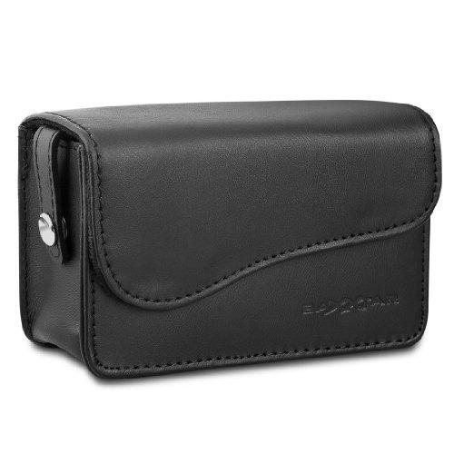 Bundlestar * Kameratasche, echtes LEDER (Lamm) schwarz OHNE Reißverschlussgefummel für Kompaktkameras
