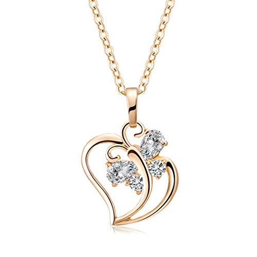 YAZIlIND Jewelry Schmuck gold vergoldet Kristall elegante Damen Halskette Herz mit Anhänger 45cm