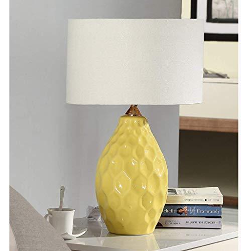AOLI Tischlampe American Keramik Tischlampe Schlafzimmer Nachttischlampe, Studie Wohnzimmer einfach modern, warm, blau, H48Cm * W30Cm,Gelb-2 (Gelb Moderne Keramik-tischlampe)