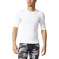 adidas Techfit Base - Camiseta de manga corta para hombre, Blanco (White), L