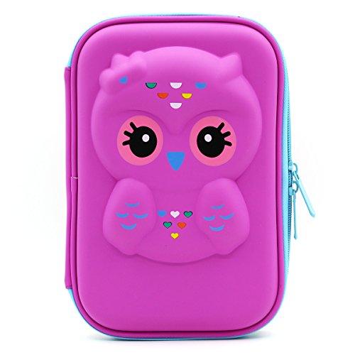 Soocute, astuccio rigido con gufo, portamatite elegante, in gomma eva, con grande capacità, per studenti e bambini purple