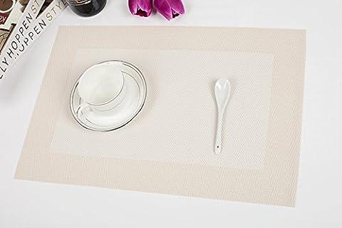 Set de table Plastifié grille blanc PVC Placemats Dining Table Sets Clest F&H Résistant à la Chaleur (Set of 2