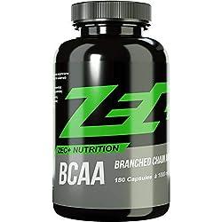 ZEC+ BCAA Kapseln - 180 Kapseln hochdosierte Aminosäuren Kapseln mit L-Leucin, L-Isoleucin, L-Valin, 1.000 mg essentielle Aminosäuren als Sportnahrung für Fitness & Kraftsport, MADE IN GERMANY