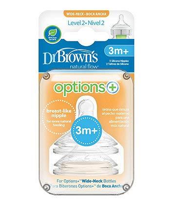 Dr Brown - Tetinas de caudal natural de silicona con cuello ancho 2 en un paquete de 3 m + (largo 2)