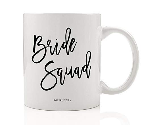 Bride Squad Coffee Mug Bride's Girl Gang Gift Idea Bridal Shower Favors Bachelorette Party Present for Wedding Bridesmaids Best Friends Family Members 11 Oz Ceramic Tea Booze Cup (Bachelorette Party Favor Ideen)