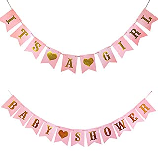 Hemore Baby Shower Decorations BABY SHOWER & IT'S A GIRL Bunting Banner Party Decoration Nursery Room Decor Birthday Banner