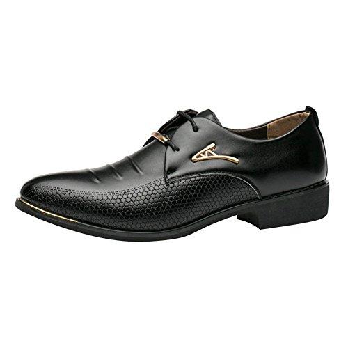Juleya Herren Businessschuhe Schnürhalbschuhe PU Lederschuhe Herrenschuhe Anzugschuhe Lace-Up Hochzeit Schuhe Schwarz 41