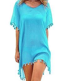 ECOMBOS Damen Strandkleid - Bikini Cover Up Strandponcho Sommerkleid Sommer Bademode Longshirt Tunika Strand Pareo