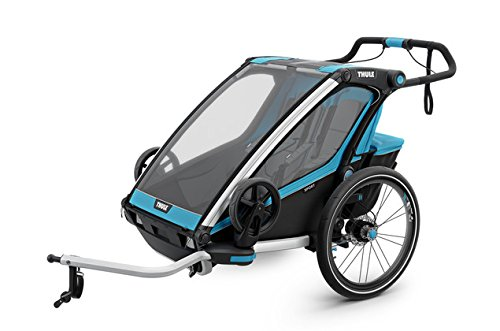 Thule Chariot Sport 2, Blau, Fahrradanhänger, Joggingtransporter, Buggy / für 2 Kinder