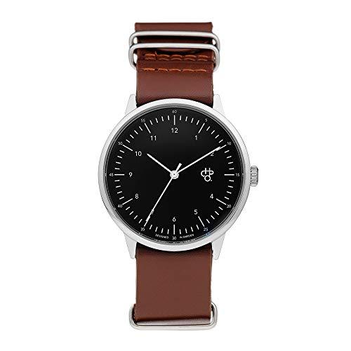 CHPO Unisex Erwachsene Analog Quarz Uhr mit Leder Armband 14224BB