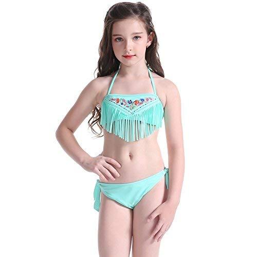 Hougood Mädchen Bademode Badeanzug Neoprenanzug Zweiteilige Anzüge Kinder Stickerei Quaste Bikinis Sets Baby Mädchen Schwimmen Cosutmes Alter 5-14 Jahre (Grün, Etikett 152(8-12 Jahre alt)) - Jahr-etiketten