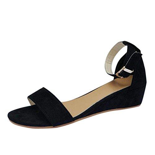 Sandalen Damen LHWY Frauen Low Heels Keilabsatz Schnalle Mode Freizeitschuhe Büro Party Sandalen Sommer Roman Schuhe Wedges Ankle Strap Sandalen (38, Schwarz)