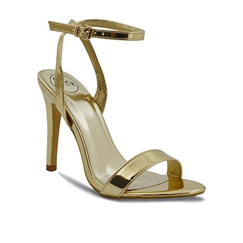 ESSEX GLAM Donna Peep Toe Stiletto Cinturino alla Caviglia Sintetico Sandalo Oro metallizzato