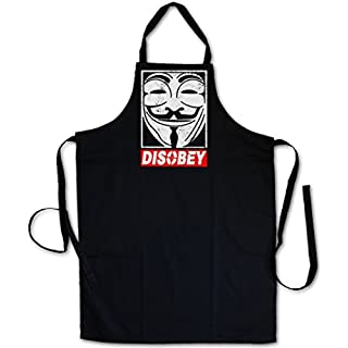 """Urban Backwoods ANONYMOUS DISOBEY """"J"""" Barbecue BBQ Kitchen Cooking Apron - V Guy For Wie Anonymous Vendetta Fawkes Maske UK Mr. Robot F Society fsociety Hacker Allsafe Cybersecurity E Corp MR TV"""