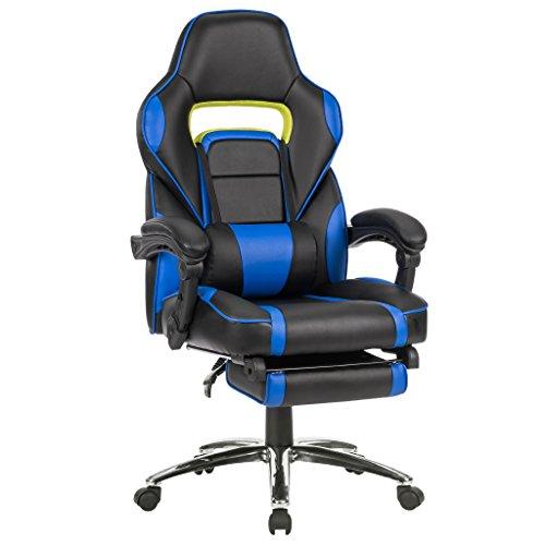 Langria sedia da ufficio computer gaming racer sedia ecopelle schienale alto ecopelle corsa classe di lusso regolabile ergonomica poltrona girevole con imbottito bracciolo (blu)