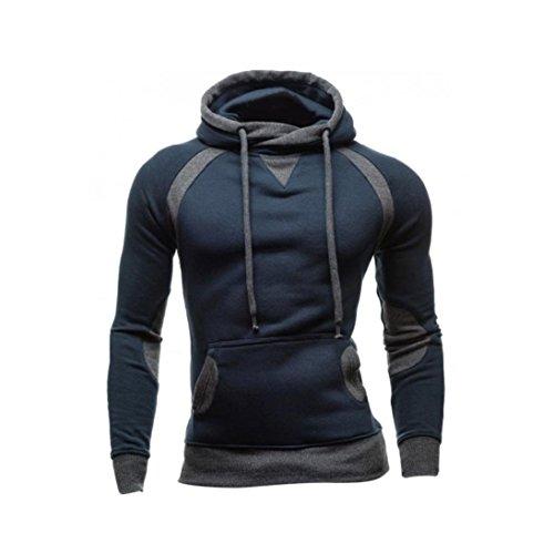 FORH Herren langarm Hoodie Sweatshirt Slim fit Sweatjacke Wintermantel Tradition Stil Kapuzenpullover Warm Hoody Pullover T-Shirt Mit Kapuze hochwertiger Baumwollmischung Outwear (XL, Marine)
