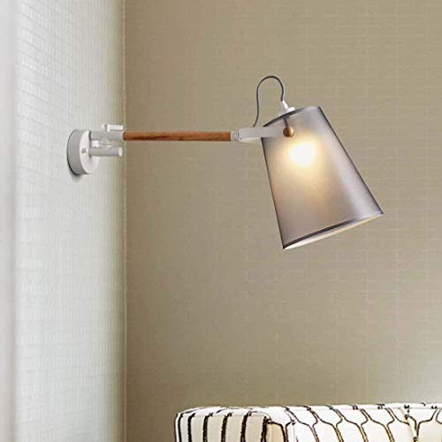 Wapipey Nordic Creativo Bracket Light Moderno Minimalista Lámpara de Pared Personalidad Tela de Madera Rocker Arm Lectura Aplique de Pared Estudio Dormitorio Lámpara de Pared Lado E27