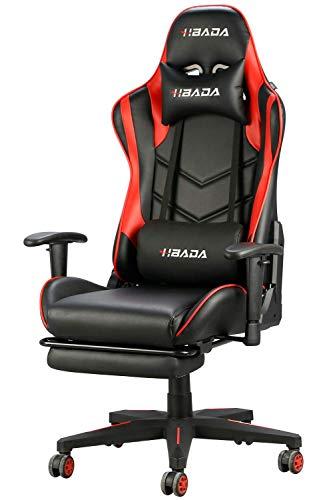Hbada Gaming Stuhl mit Fußstütze Computerstuhl Kunstleder Bürostuhl Höhenverstellung Neigungsverstellung Ergonomisches Design mit Kopfstütze und Ledenkissen Rot