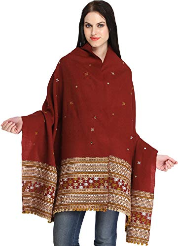 Exotic India Shawl from Kutch with Embroidered Border and Mirrors - Color Red Clay Color Einheitsgröße meisten - Indian Red Clay