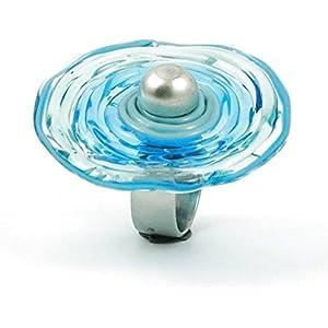 Edelstahl-Ring mit Scheibe aus Murano-Glas in türkis, Glas-Schmuck, Wechsel-Ring, Unikat, personalisiert, einzigartiges Geschenk