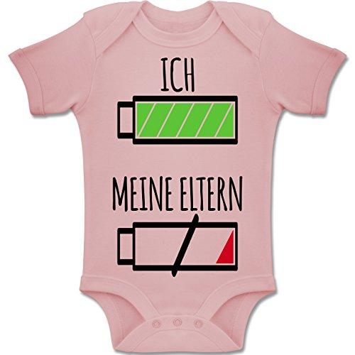 Shirtracer Strampler Motive - Ich und Meine Eltern Batterie - 3-6 Monate - Babyrosa - BZ10 - Baby Body Kurzarm Jungen Mädchen