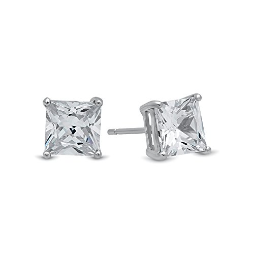 Pure 925 Sterling Silver Princess Cut Square Clear CZ Stud Earrings