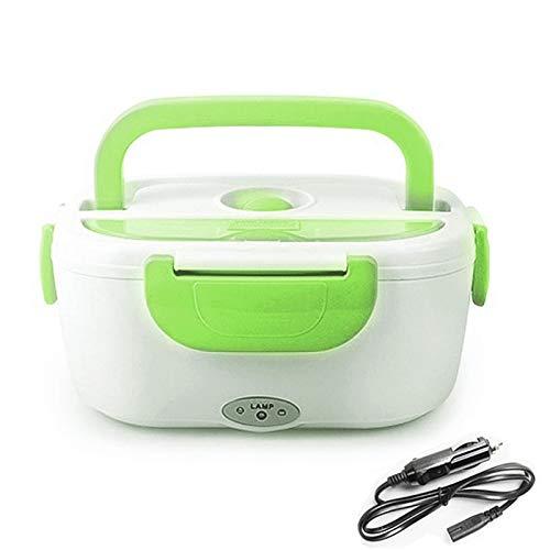 Elektrische Bento Box 12V tragbare elektrische Heizung Bento Lunch Box Food Storage Reis Container Mahlzeit Prep Home Office Schule Geschirrwärmer Geschirr Bento-Box (Color : Green)