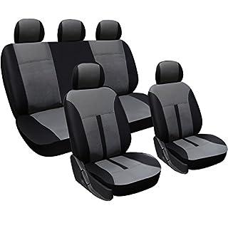 WOLTU AS7289 Universal Schonbezüge für Auto Sitzbezüge Sitzschoner Sitzbezug Auflage, Kunstleder, schwarz-grau
