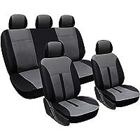Woltu AS7289 Fundas de asiento universales para fundas de asiento de automóvil fundas de asiento cubiertas, imitación de cuero, negro-gris