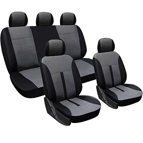 WOLTU AS7289 Seat Cover per Macchina Set Completo di Coprisedili per Auto Universali Protezione per Sedili Similpelle Beige+Nero