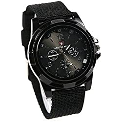 PSFY Cool Summer,black Color Military Army Pilot Fabric Strap Sports Men's Swiss Military Watch