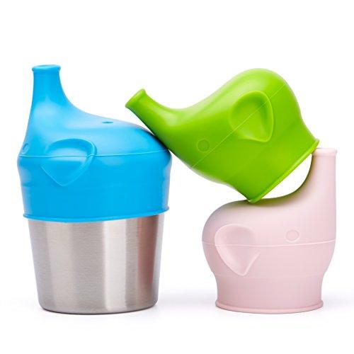 BBBiteMe Baby Schnabeltassen Deckel & Edelstahl Trinkbecher - Auslaufsicher & Universal - Elefanten Kinder Silikon Schnabelbecher Deckel - Trinklernbecher Ersatz Sippy Deckel - BPA - Saft Cup Sippy