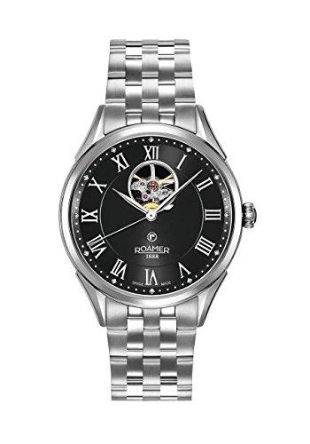 Roamer Reloj Automático para Hombre con Negro Esfera analógica Pantalla y Plata Pulsera de Acero Inoxidable 550661415250