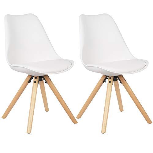 WOLTU BH52ws-2 2 x Esszimmerstühle 2er Set Esszimmerstuhl mit Sitzfläche aus Kunstleder Design Stuhl Küchenstuhl Holz, Weiß