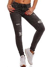 Damen Skinny Pailletten Jeans Slim-Fit Regular Waist Destroyed