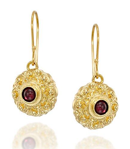 Damen-Ohrringe, antiker Stil, Granat, Edelstein, Blume, 14 Karat vergoldet, Sterling-Silber 925