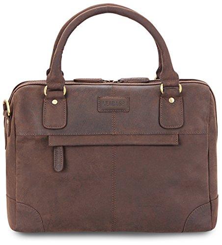 LEABAGS Dijon borsa vintage in vera pelle di bufalo -