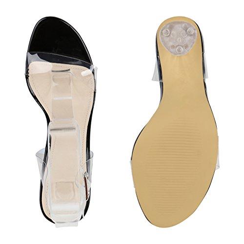 Damen Sandaletten Transparenter Absatz Blockabsatz High Heels Lack Schwarz