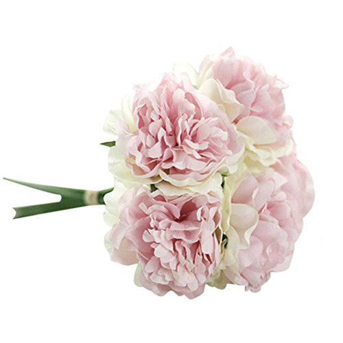 �nstliche Pfingstrose Kunstblumen Hochzeit Bouquet Bridal Hydrangea Home Decor Hell-Pink ()