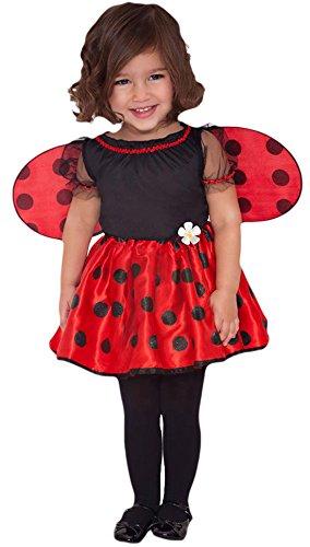 Fancy Marienkäfer Girls Kostüm - Fancy Ole - Mädchen Girl Marienkäfer Kleidchen mit Flügeln Kostüm Karneval , Rot, 80-92, 1-2 Jahre