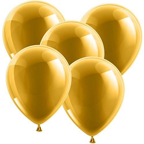 10x Ballons Luftballons Glänzend Bunt Gummiballons Latexballons Ø 30cm - geeignet für die Befüllung mit Luft oder Helium - Freie Farbauswahl - glänzende Ballons sind auf jedem Geburtstag der Hingucker! - Europäische Premium Qualität! (Gold)