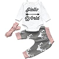 Covermason Recién nacido Bebé Niña Imprimir Tops y Pantalones y Banda para el cabello (1 conjunto) (6M, Hello World)