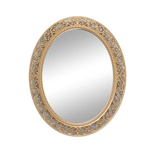 DNSJB Ovaler hohler an der Wand befestigter Frisierspiegel-Badezimmer-wasserdichter Eitelkeits-dekorativer Spiegel (Farbe : Gold)