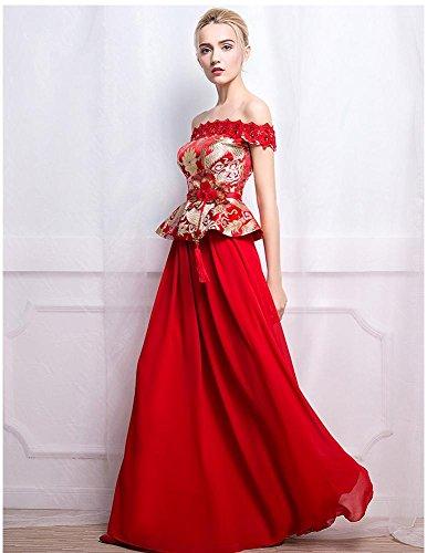 Beauty-Emily Abiti sposa peplum con scollo a barchetta Stile Brocade cinese Rosso